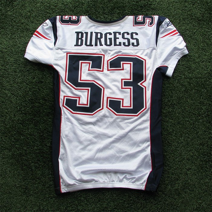 2009 Derrick Burgess Team Issued #53 White Jersey w/50th Patch