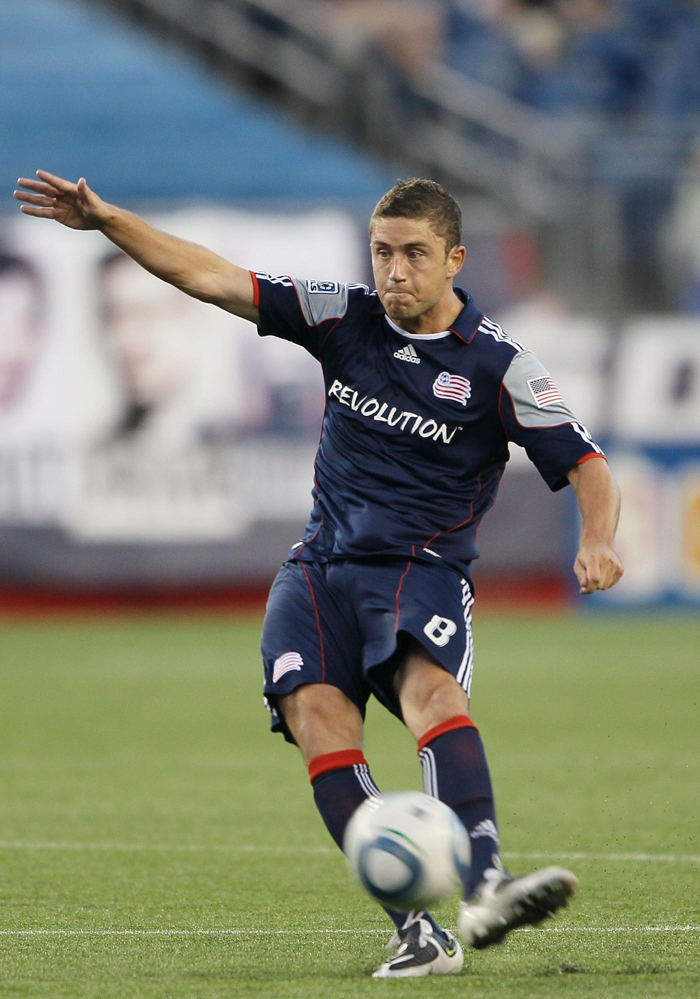 Chris Tierney served as the Revolution's set-piece specialist against D.C. United with Marko Perovic injured