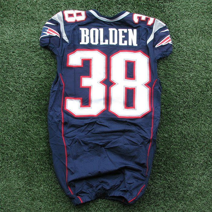 2012 Brandon Bolden Game Worn #38 Navy Jersey