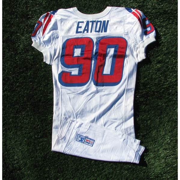 1996 Chad Eaton #90 White Game Worn Jersey