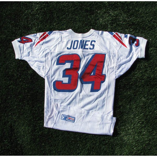 1998 Tebucky Jones #34 White Game Worn Jersey