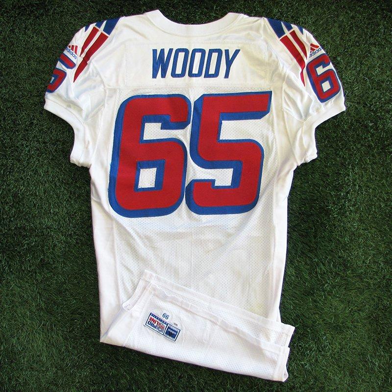 1999 Damien Woody #65 Game Worn White Jersey