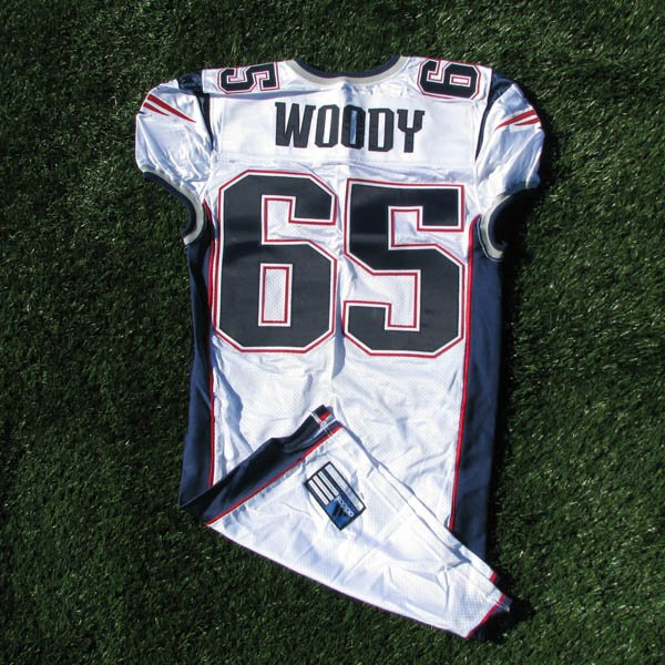 2001 Damien Woody Team Issued #65 White Jersey