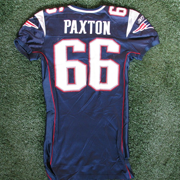 2005 Lonie Paxton Game Worn #66 Navy Jersey