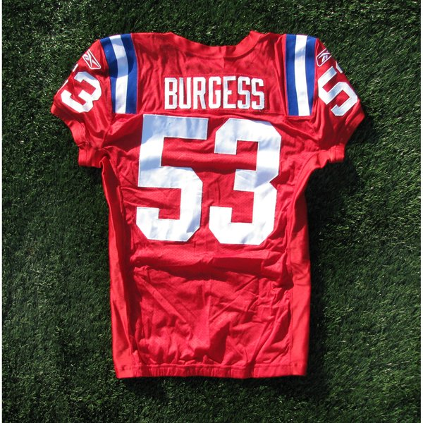 2009 Derrick Burgess Game Worn #53 Throwback Red w/50th Patch Jersey