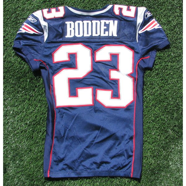 2009 Leigh Bodden Game Worn #23 Navy Jersey w/50th Patch