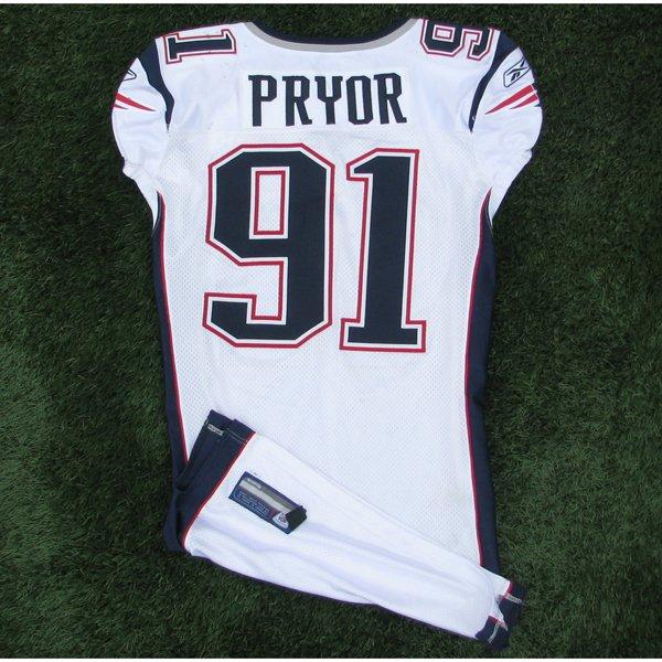 2009 Myron Pryor Game Worn 91 White Jersey w50th Patch