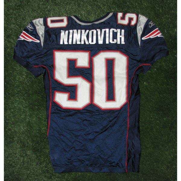 2009 Rob Ninkovich Game Worn #50 Navy Jersey w/50th Patch