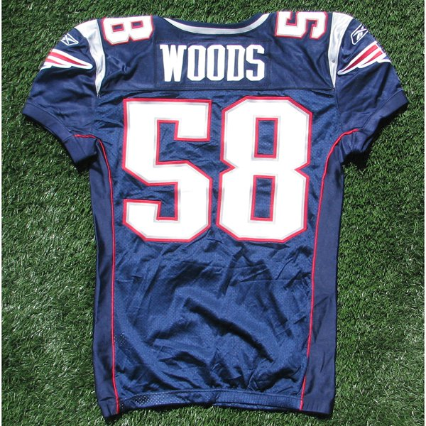 2009 Pierre Woods Team Issued #58 Navy Jersey w/50th Patch