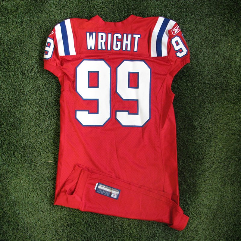 2010 Mike Wright Game Worn #99 Throwback Red Jersey
