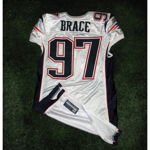 2011 Ron Brace Game Worn #97 White Jersey w/MHK Patch