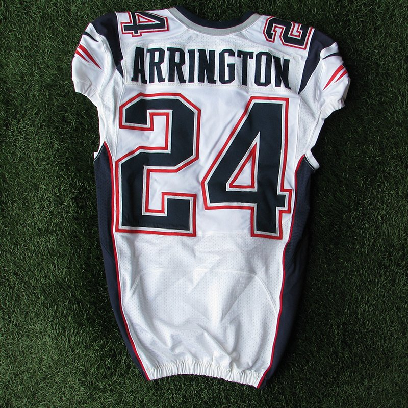 2012 Kyle Arrington Team Issued #24 White Jersey