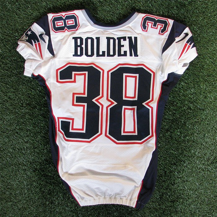 2012 Brandon Bolden Team Issued #38 White Jersey