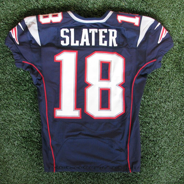 2012 Matt Slater Game Worn #18 Navy Jersey