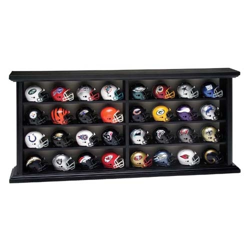 32 Pocket Pro Mini Helmets Wood Display