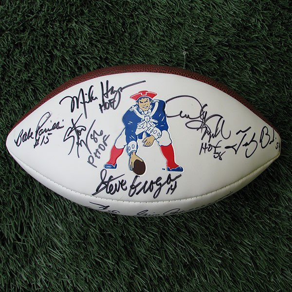 Patriots 50th Anniversary Team Autographed Throwback Football