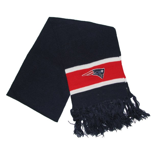 Patriots 47 Brand Striped Scarf-Navy