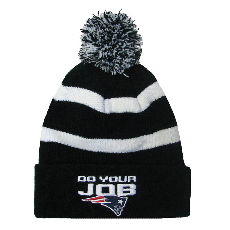 Do Your Job Knit Hat-Black/White