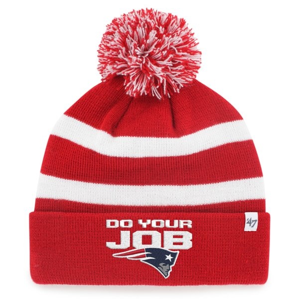 Do Your Job Knit Hat-Red/White
