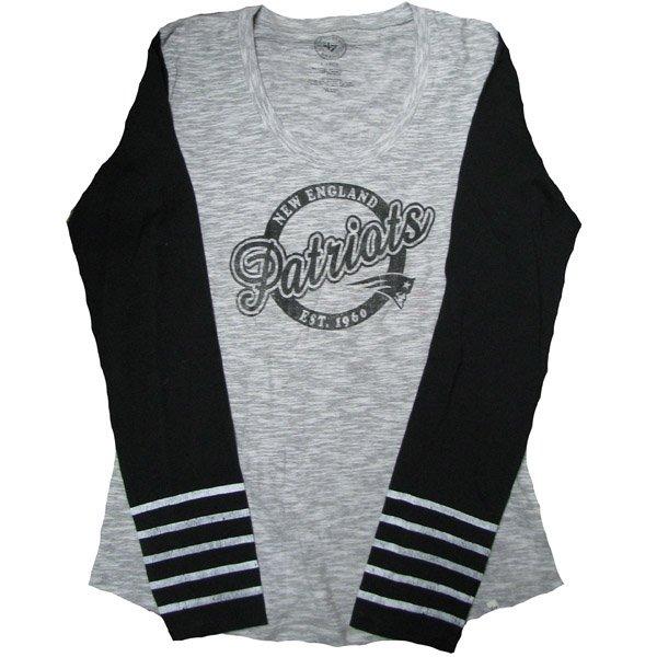 Ladies '47 Brand Dugout Long Sleeve Tee-Gray/Black