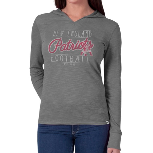 Ladies '47 Brand Throwback Primetime Hooded Tee-Gray