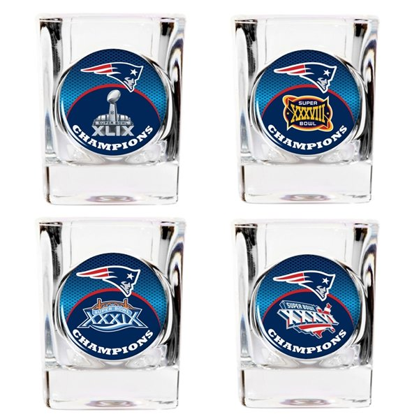 Patriots Four Time Champions Shot Glass Set-4pk