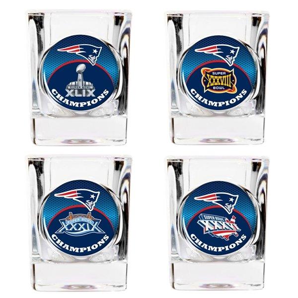 Patriots Four Time Champions Shot Glass Set-4pk