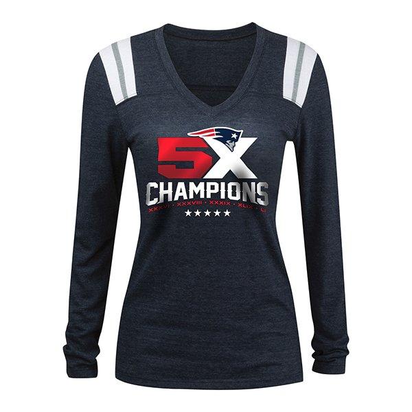 Junior Ladies 5X Champs Long Sleeve Top-Navy