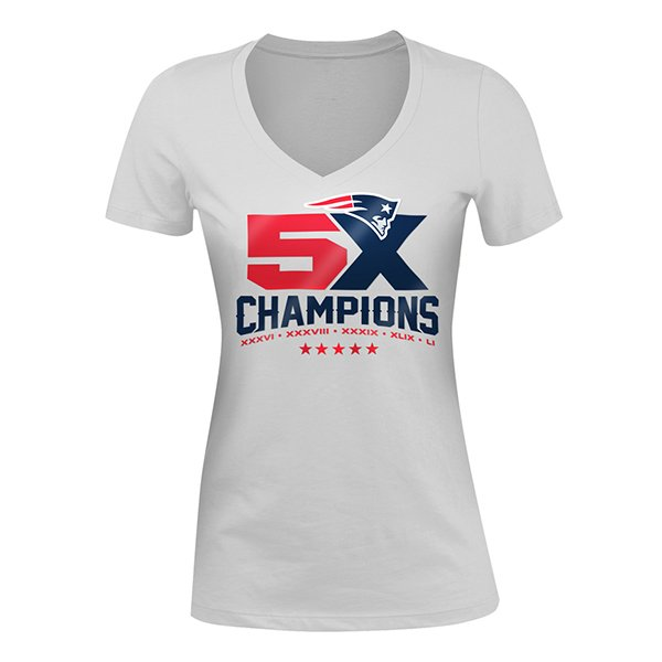 Junior Ladies 5X Champs V-Neck Tee-White
