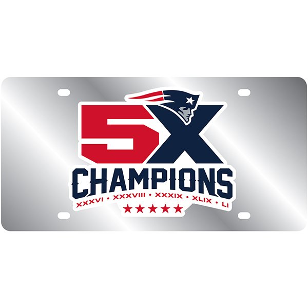 5X Champs Silver Mirror License Plate