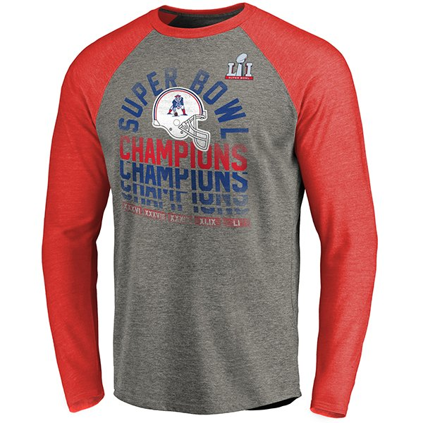5X Champs Throwback Raglan Long Sleeve Tee-Gray