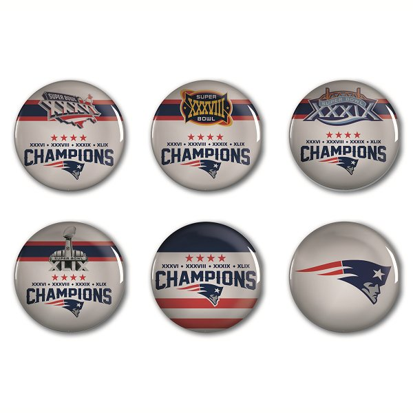 Exclusive 4 Time Champions Round Buttons-6pk