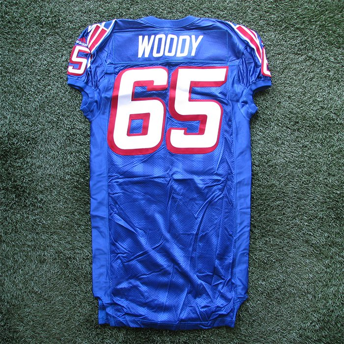 1999 Damien Woody Team Issued #65 Royal Jersey
