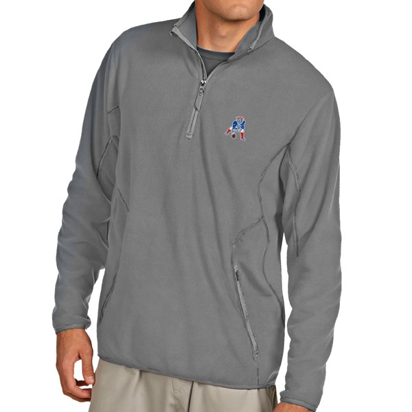 Antigua Throwback Ice 1/4 Zip Fleece-Silver