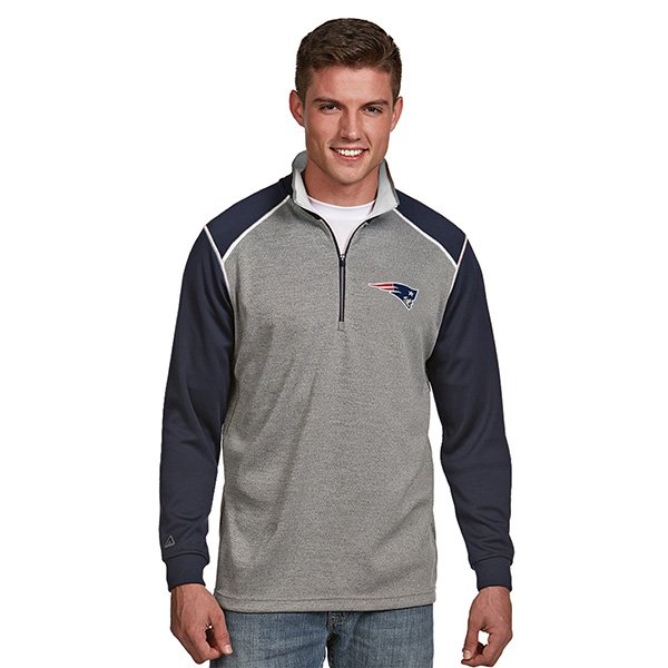 Antigua Breakdown 1/2 Zip Top-Gray/Navy/White