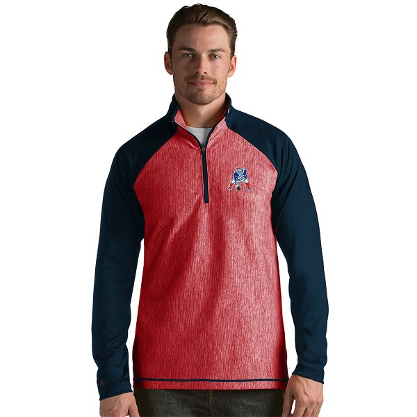Antigua Play Maker Throwback 1/2 Zip Jacket-red/Navy