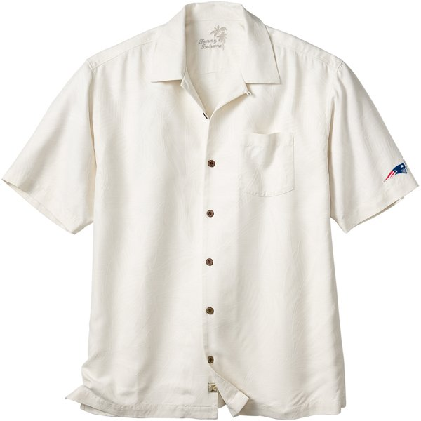 Patriots Tommy Bahama Bird It Camp Shirt-Beige
