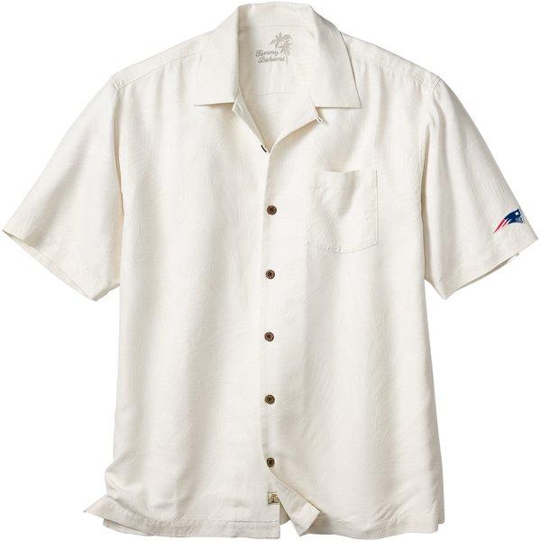 Patriots Tommy Bahama Bird It Camp Shirt-Beige