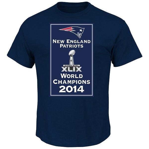 Majestic Super Bowl XLIX Banner Tee-Navy