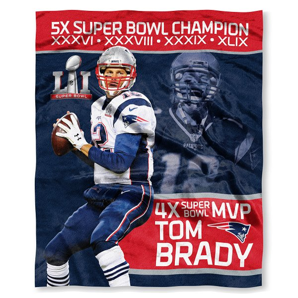 5X Champs Tom Brady Throw Blanket