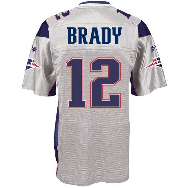 Authentic Tom Brady #12 Jersey-Silver