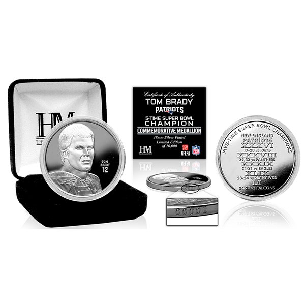 Tom Brady 5X Champs Silver Coin