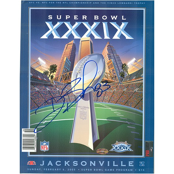 Autographed Deion Branch Super Bowl 39 Program