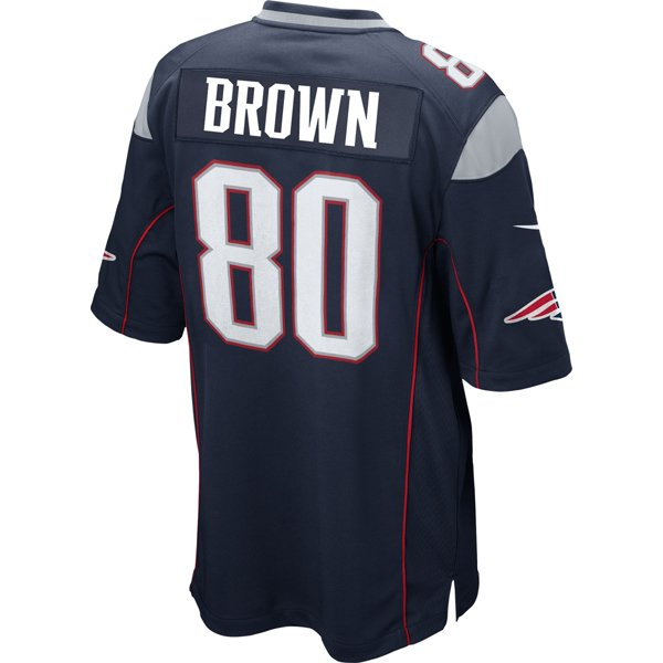 Nike Troy Brown #80 Game Jersey-Navy