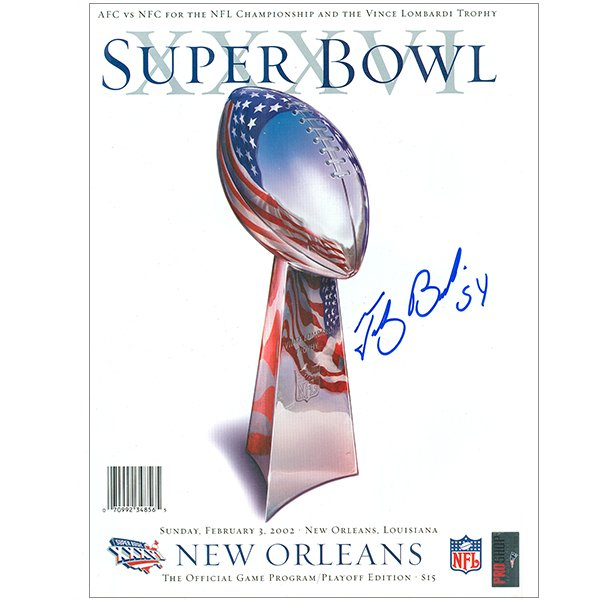 Autographed Tedy Bruschi Super Bowl 36 Program