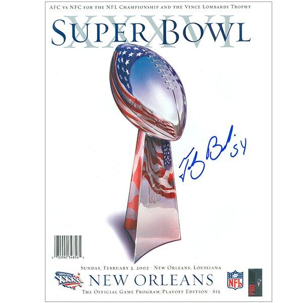Autographed Tedy Bruschi Super Bowl 36 Program