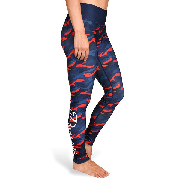 Ladies Camo Leggings-Navy/Red