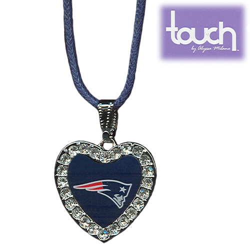 Patriots Crystal Heart Pendant