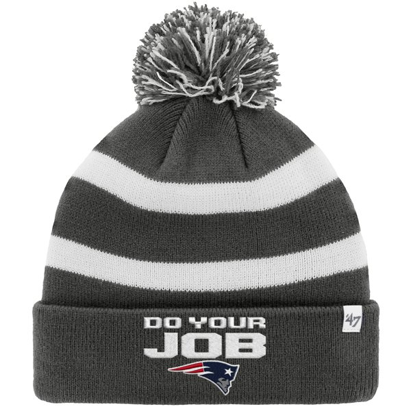 Do Your Job Knit Hat-Charcoal/White