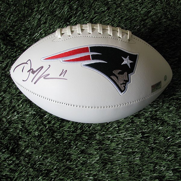 Autographed Julian Edelman 3 Panel Football w/Case